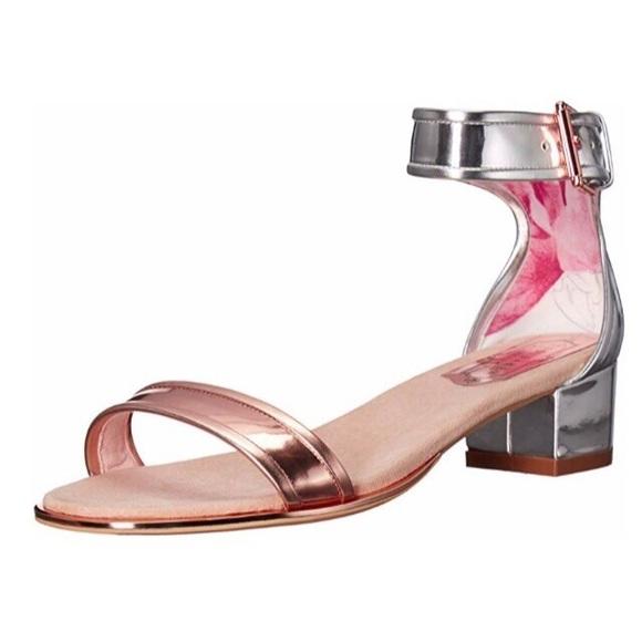 9b9b073aadeae NEW Ted Baker RUZ Silver Rose Gold mid heel Sandal